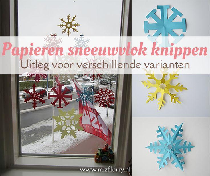 Uitleg hoe je mooie papieren sneeuwvlokken kunt knippen van een vouwblaadje. Voor een simpele variant, één met 8 punten en één met 6 punten. Leuke versiering voor de winter of Kerst. van: www.mizflurry.nl