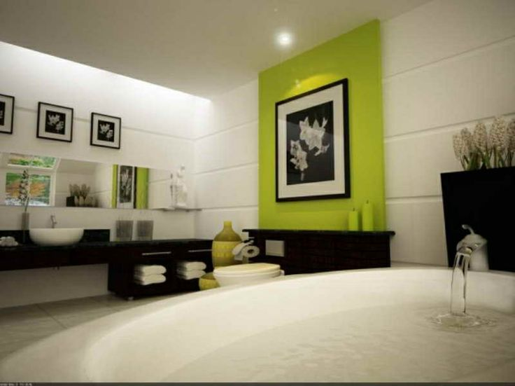 Excellent White Black Bathroom Green Accent Wall With Soothing Water Bath By