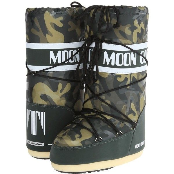 Tecnica Moon Boot Camu Cold Weather Boots ($130) ❤ liked on Polyvore featuring shoes, boots, mid-calf boots, military style boots, faux-fur boots, slip-on shoes and laced up boots