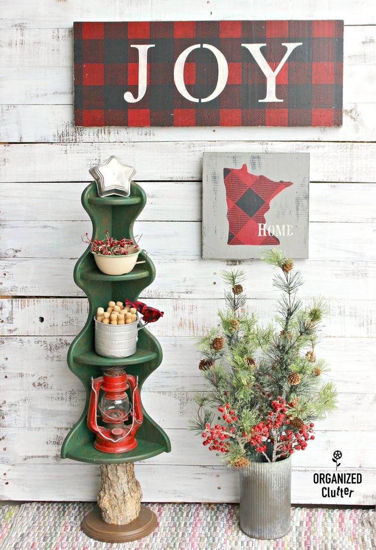 Wooden Corner Shelf Repurposed As A Christmas Tree organizedclutter.net