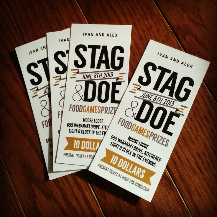 Stag and Doe Tickets © 2013, Alex Mohammed. All rights reserved. By Alex Mohammed