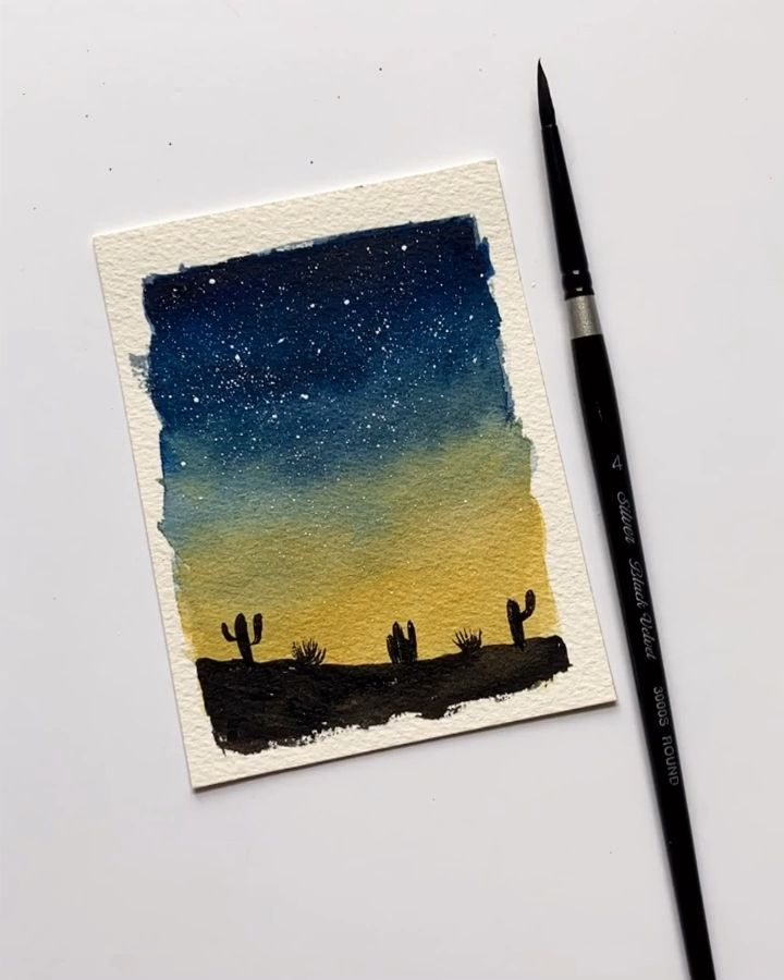 Easy Watercolor Sunset Desert In 2020 Art Painting Easy