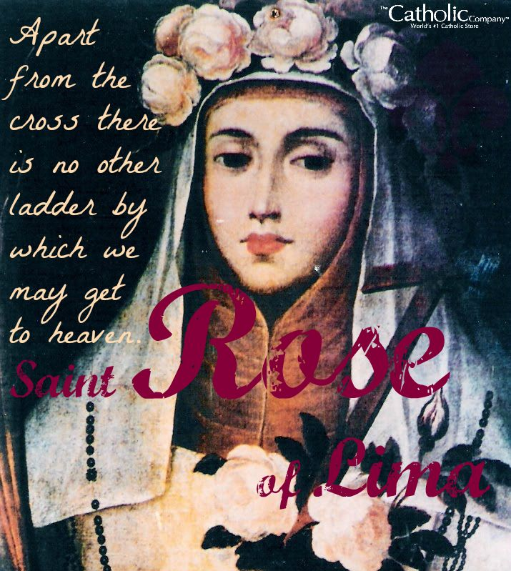"St. Rose of Lima is the first canonized #saint of the Americas. She imitated the example of St. Catherine of Siena, living a life of virtue and penance as a Dominican tertiary in the home of her parents. St. Rose used to love to repeat, ""If human beings knew what it is to live in grace, no suffering would frighten them and they would gladly suffer any hardship, for grace is the fruit of patience."""