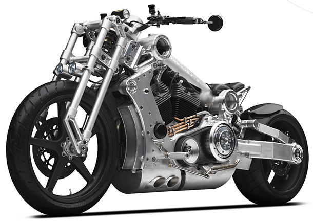 """Nothing, and I mean NOTHING, screams """"precision"""" like the Confederate P120 Fighter Combat Motorcycle. This sled's lightweight, aircraft-grade, aluminum chassis houses a 1,966cc twin-cylinder engine producing a face-peeling 145lbs of torque with 160 horse at the rear-wheel. Making this bike, my post-apocalyptic ride of choice."""