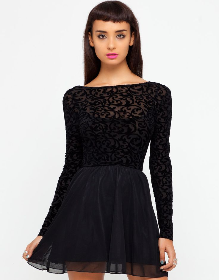 30% off Motel clothing today only--use code FIZZLE    Motel Cillia Skater Dress in Black Flocked Baroque at Motel Rocks