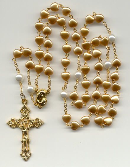 Gold glass pearl heart rosary with white glass pearl