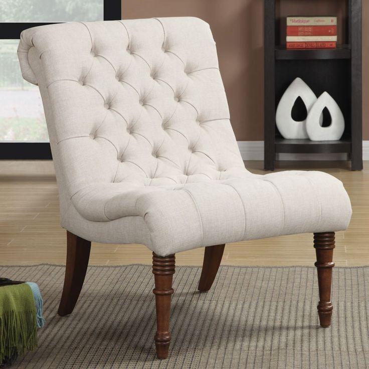 best living room chair%0A Oatmeal Linen Armless Chair