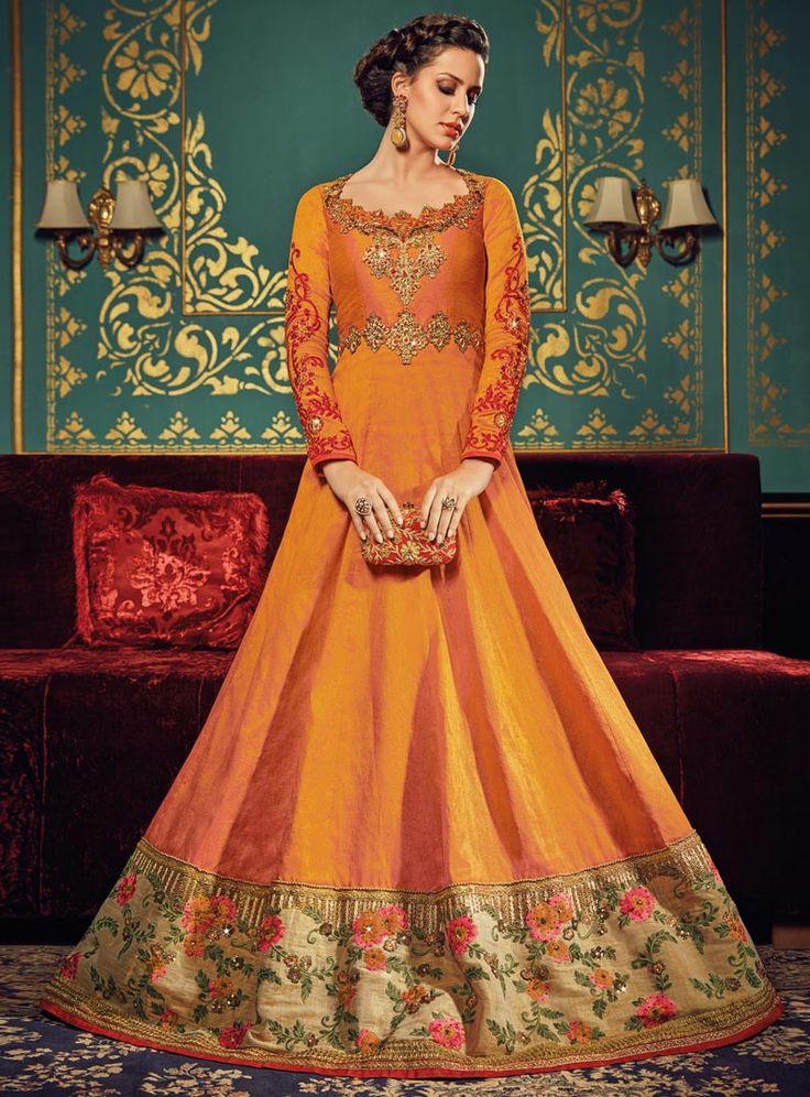 Buy Orange Silk Floor Length Anarkali Suit 90480 online at lowest price from huge collection of salwar kameez at Indianclothstore.com.