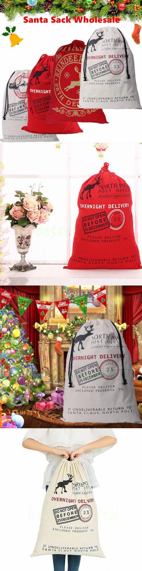 Christmas Decorations: Wholesale 5 10Pc Christmas Santa Claus Sack Large Stocking Bag Hessian Xmas Gift -> BUY IT NOW ONLY: $44.37 on eBay!