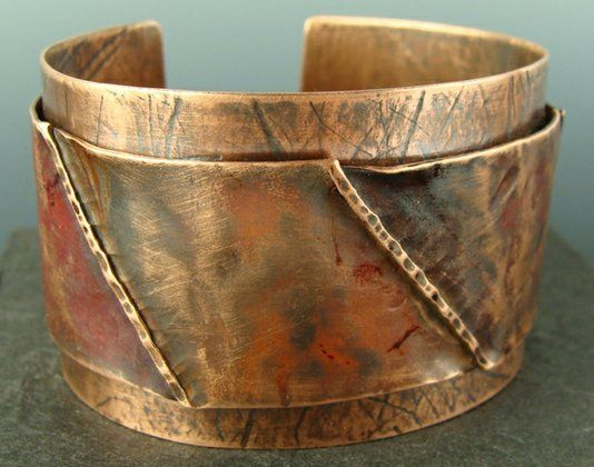 Handmade Riveted Double Layer Wide Copper Cuff Bracelet by Nancy Lee Designs | CustomMade.com