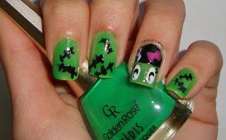 Crissie's Mind: Halloween: Bride of Frankenstein Nails 2013