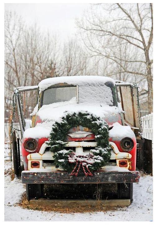 A country ChristmasHoliday, Christmas Cards, Christmas Wreaths, Christmas Time, Vintage Christmas, Winter, Old Trucks, Vintage Trucks, Country Christmas