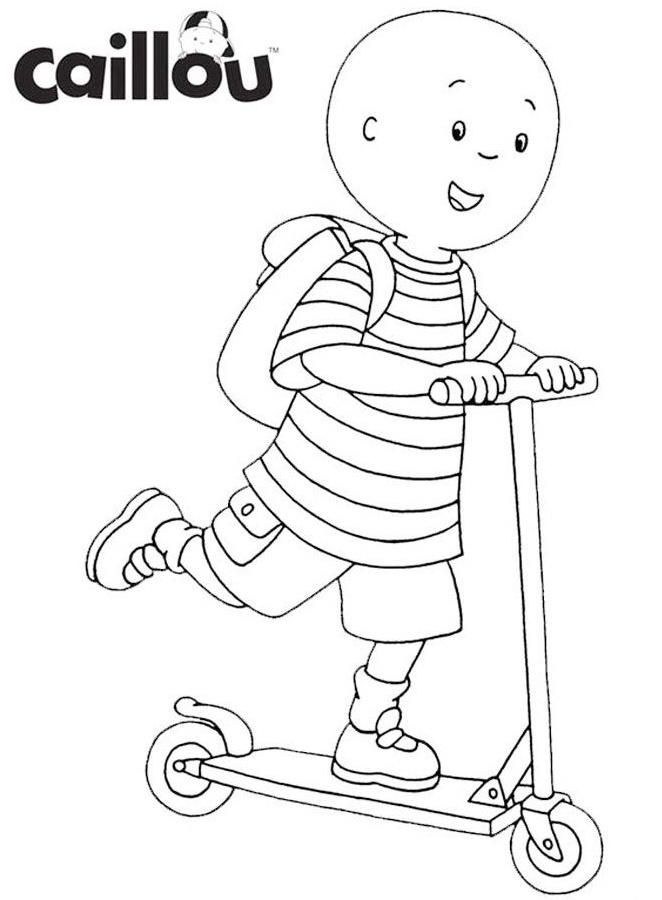 Caillou Riding Scooter Coloring Sheet Vervoer Fietsen Thema