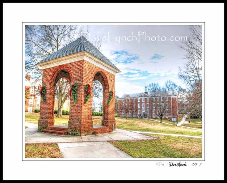 Farmville Virginia VA  - Hampden Sydney College -Cushing Hall - Bell Tower - In Color - Black & White - Art Photography Print by Dave Lynch