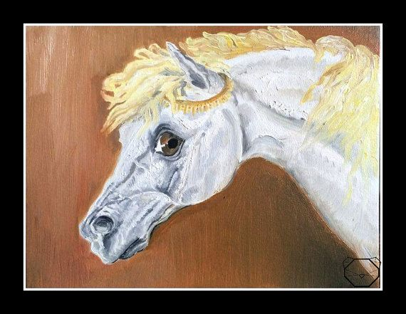 Horse Painting  White Horse  Horse Oil Painting  by KubuHandmade
