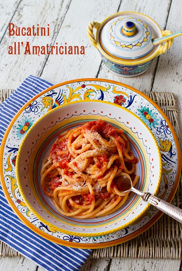 "Italian Food Forever » Traditional Bucatini all""Amatriciana & Earthquake Relief. Learn how to make the ""true"" Pasta Amatriciana and find out how to help the earthquake victims. #VirtualSagra #italianfoodforever"