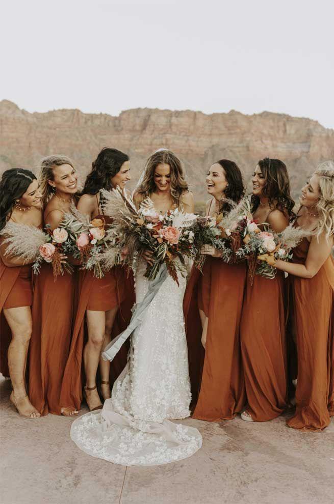 Rost Und Salbei Hochzeit Farbpalette Rust Bridesmaid Dress Sage Wedding Orange Bridesmaid Dresses