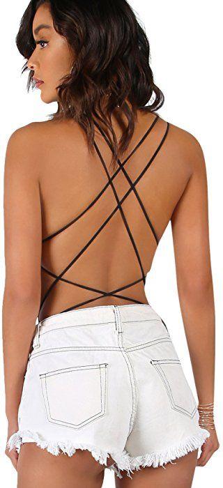 139d07f5bc Amazon.com  Verdusa Women s Sleeveless Scoop Neck Strappy Backless Bodysuit  Black XS  Clothing
