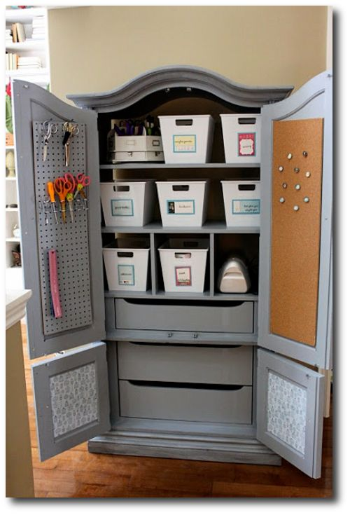 re purposed armoire into a craft center from maple and magnolia