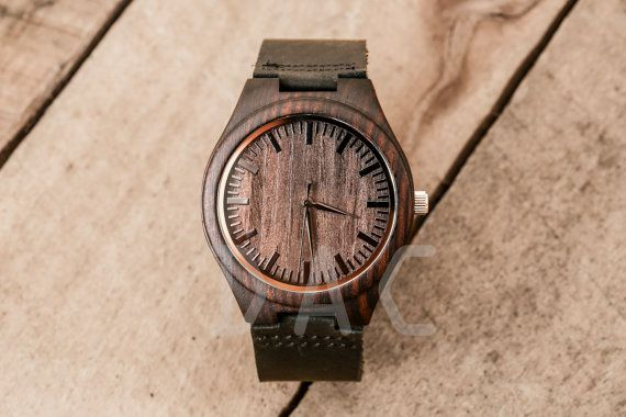 Valentines Day Gift Black mens wooden watch by DailyApparelCustoms