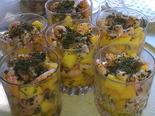 crevette, mangue, huile d'olive, citron vert, coriandre