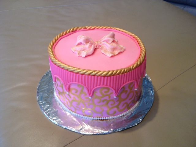 Pink Fondant Birthday cake w/Gold painting