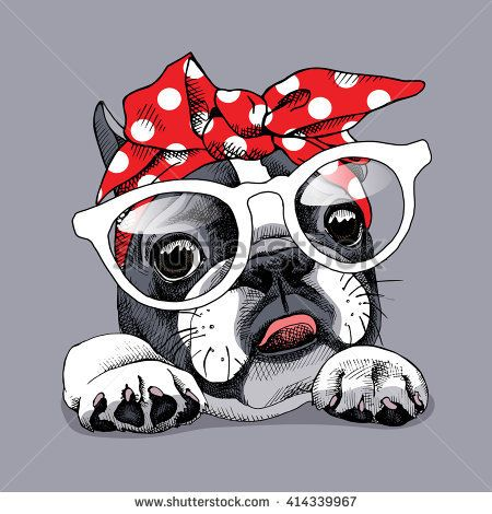 French Bulldog portrait in a headband and with glasses. Vector illustration.