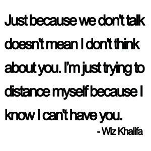 I only wish I believe this were true. We don't talk because you considered me disposable; your actions proved as much.