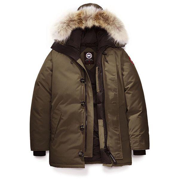 Canada Goose Chateau Jacket ($900) ❤ liked on Polyvore featuring men's fashion, men's clothing, men's outerwear, men's jackets, men, canada goose, mens slim jacket, mens parka, mens olive green jacket and canada goose mens jacket