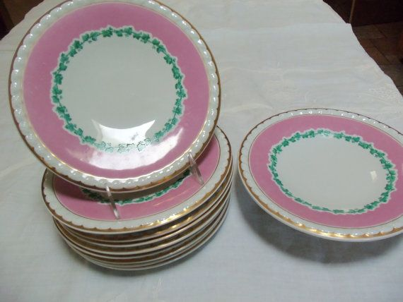 Antique Plates/9 Dinner Plates/English/Hand Painted With ...