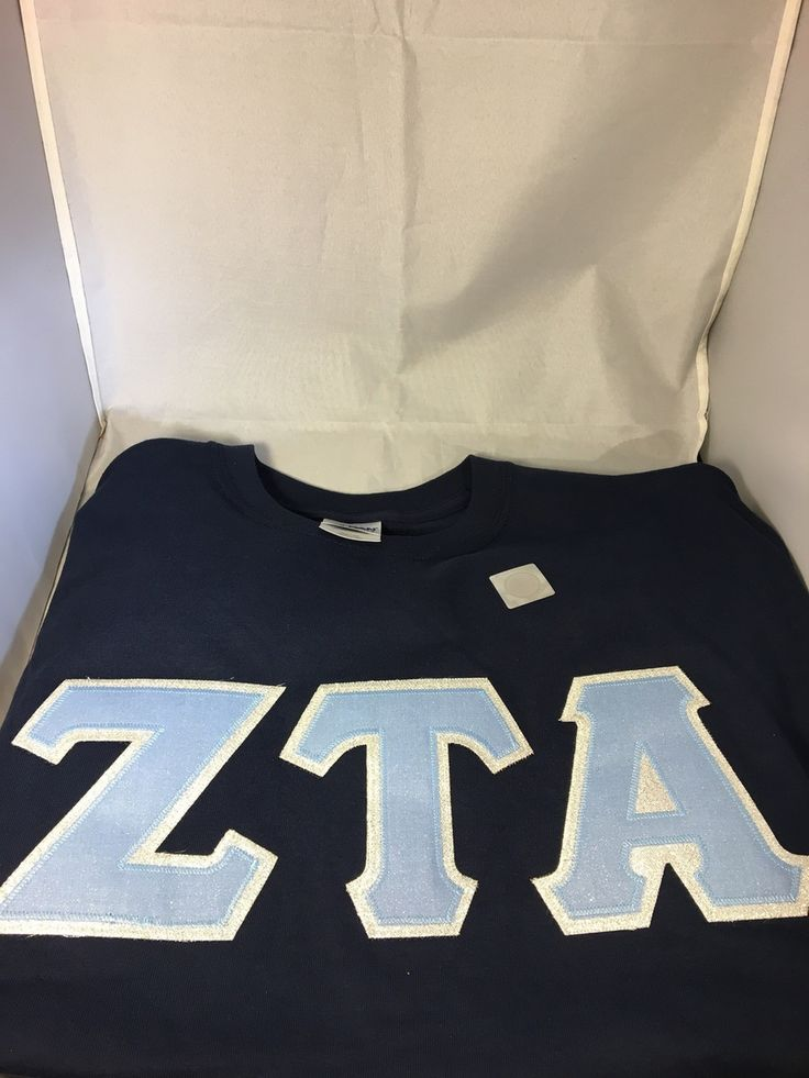 Sorority Blue Glitter Double Stitched Letter Shirt- Navy - Brothers and Sisters' Greek Store