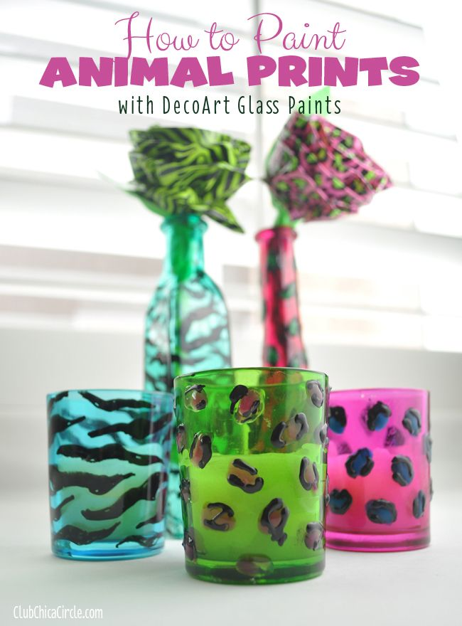 glass paint ideas Animal Print Painted