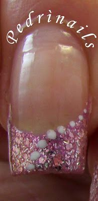 Million brilliance french manicure pink glittered with white dots  - luce naturale
