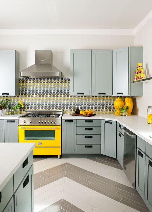 Check out the beautiful furniture and this great yellow stove that we used in The House of Tomorrow.