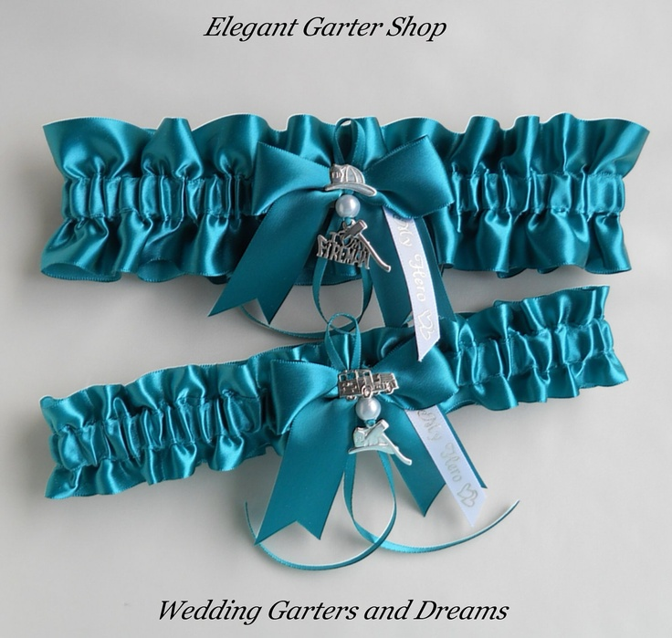 Firefighter Wedding Garters I Love My Fireman charm Jade Green Garter ...
