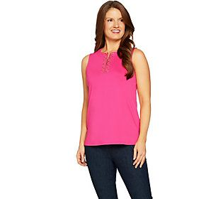 Susan Graver Butterknit Sleeveless Top with Zipper