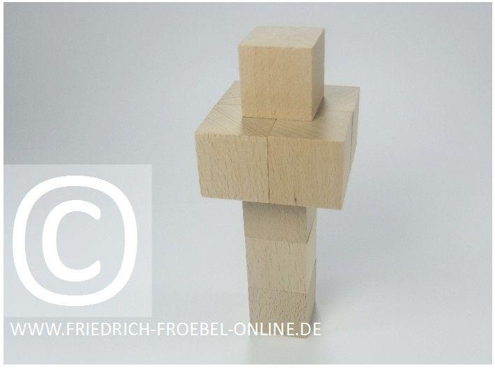Gift 3 Froebel:  Fernsehturm aus Holzbausteinen natur (mit Spielgaben nach Froebel)