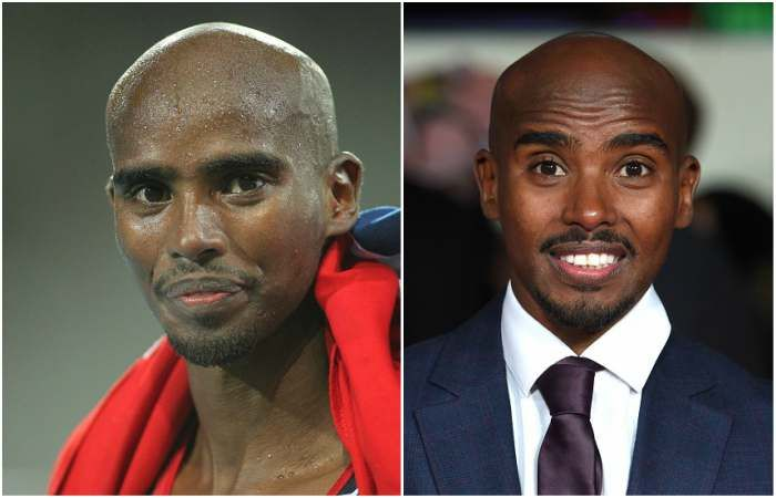 Mo Farah`s eyes color - dark brown and hair color - bald