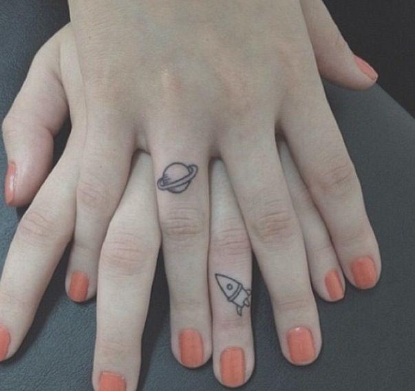 Cute Tattoos #rocket #planet #small
