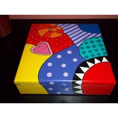 Cajas De Madera Pintadas A Mano - $ 85,00
