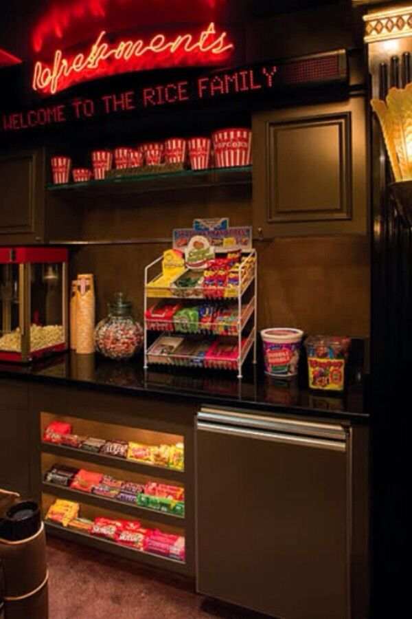 Concession Stand in your home theater room!  Fill with all your favorite treats and sweets from your local dollar store or Costco.