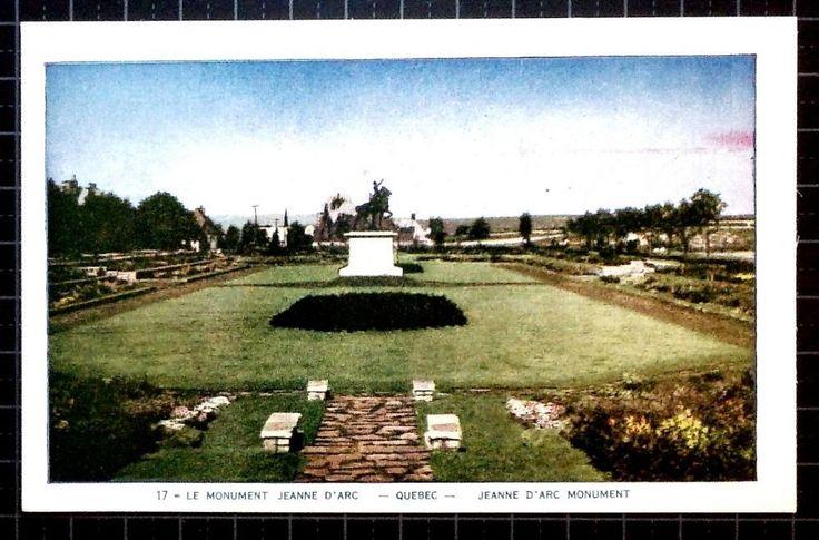 Lorenzo Audet Postcard Le Monument Jeanne d Arc Quebec Jeanne d Arc Monument 17 Postmarked not used Condition Very