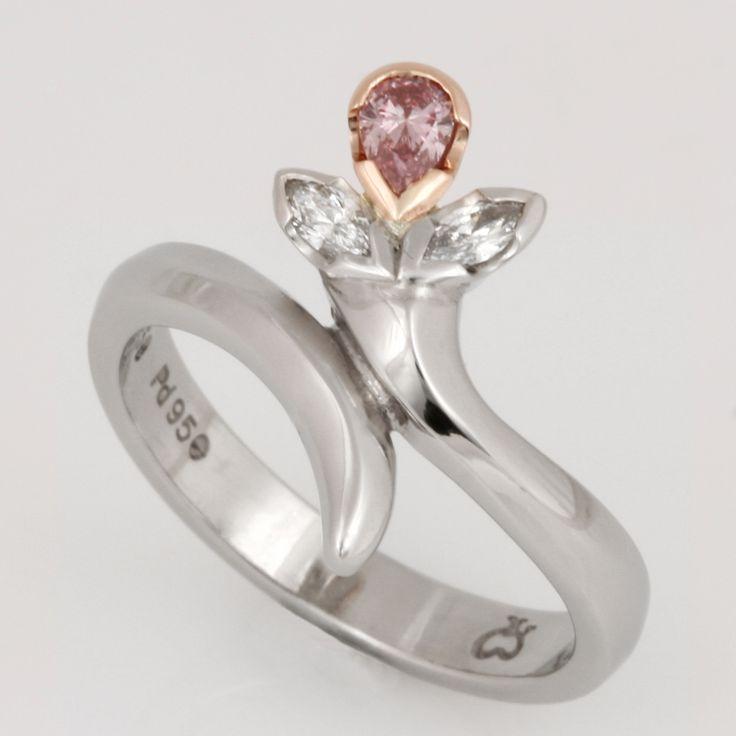 Pink and white diamond palladium ring www.robertpaul.com.au