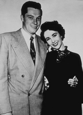 """1) """"Nicky"""" Conrad Hilton Jr, Hotelier  (m. 6th May 1950 divorced 1st February 1951) Liz said he was the love of her life."""