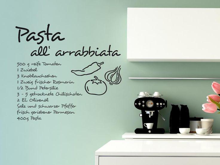 Wandtattoo Rezept Pasta all arrabbiata mit Zutaten