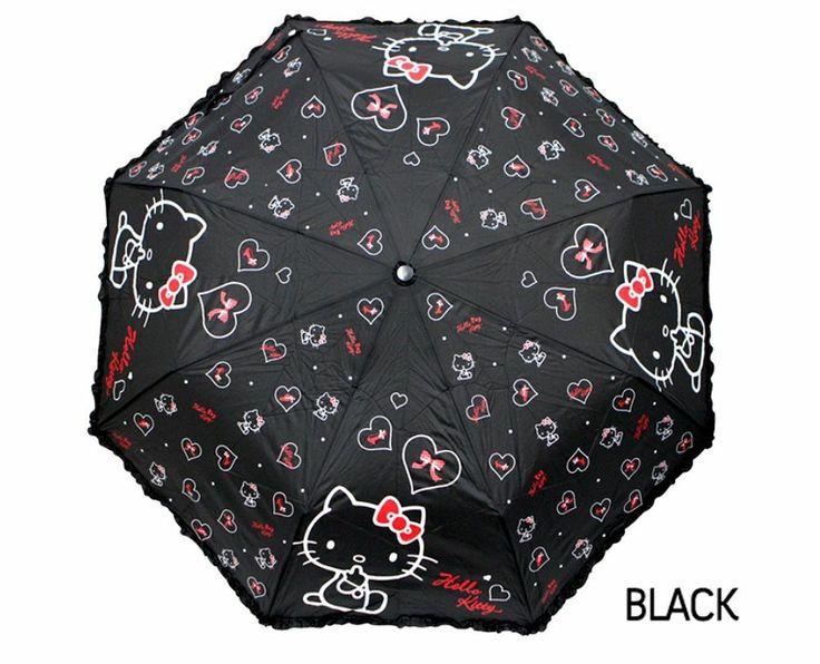 Hello Kitty Umbrella 3 Fold Woman Lady Girl Kids Children Gift Love Heart Black