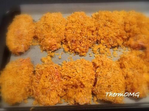 Kentucky NON Fried Chicken200g cornflakes 4 boneless chicken thighs 1 tsp salt 70 grams parmesan cheese 100g buttermilk