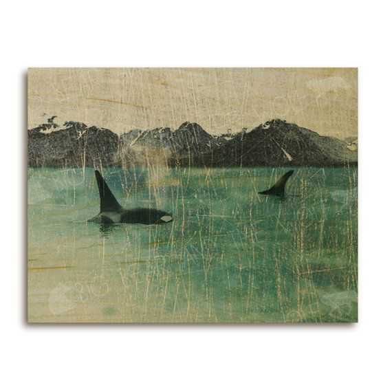 Orca whales art print on wood mountains / ocean / nature /