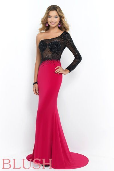 Sheer Black with Stones Prom Dresses