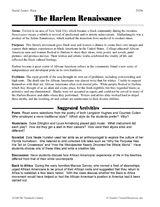 The Harlem Renaissance: Reading Passage and Activities (Grades 5-8)